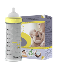 Бутылочка SWEESLEE с одноразовыми контейнерами 210 мл, 002-001, 585.00 руб., Бутылочка SWEESLEE, SweeSlee, Молокоотсосы